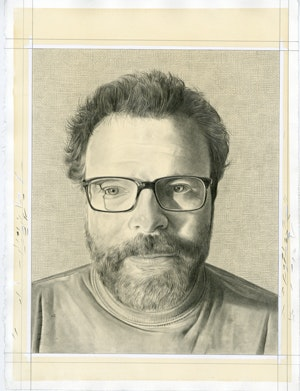 Portrait of  David Cohen. Pencil on paper by Phong Bui.