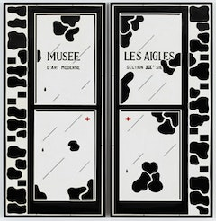 "Marcel Broodthaers, ""Les Portes"" (1969). Plaque, in 2 parts, edition: 7, exemplar 3/7. 192 x 178 cm. 75 1/2 x 70 inches.Courtesy of Michael Werner Gallery New York."