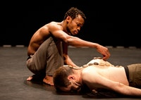 <i>Sans-titre. (Untitled)</i> Left to Right: Faustin Linyekula, Raimund Hoghe. Photo by Yi-Chun Wu.