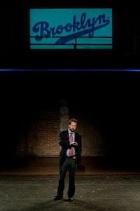 Greg McFadden as Brooklyn Borough President Marty Markowitz, in Brooklyn at Eye Level, the workshop for <i>In The Footprint</i>. Photo by Adrian Kinloch.