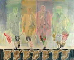 "Nicky Nodjoumi, ""Caught in the Way"" (2010). Oil on canvas, 96 x 120 in. (244 x 305 cm). Image courtesy of Priska C. Juschka Fine Art."