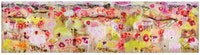 "Joan Snyder, ""OH APRIL"" (2010). Oil, acrylic, burlap, fabric, pastel, dirt and seeds on linen, 54 x 210 inches.(137.16 x 533.4 cm)."