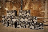 "Ryan Humphrey, ""Boom Boxes,"" cardboard, (2010)."