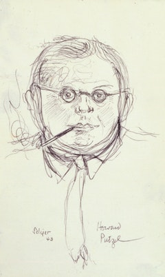 "Charles Seliger (1926-2009). ""Howard Putzel"" (1943). Ink on paper, 5 x 3 in., signed and dated. Credit Line:  Courtesy of Michael Rosenfeld Gallery, LLC, New York, NY."