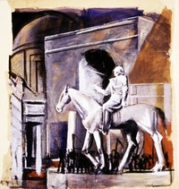 "Mario Sironi, ""Leader on Horseback (Condottiero a cavallo)"" (1934–35). Mixed media on canvas. 290 x 275 cm. MART Museo di arte moderna e contemporanea di Trento e Rovereto, Italy, Archivio Collezione Romana Sironi. © 2010 Artists Rights Society (ARS), New York/SIAE, Rome."