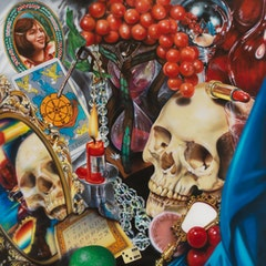 "Audrey Flack, ""Wheel of Fortune (Vanitas)"" (1977-1978). Oil over acrylic on canvas. 96 x 96 inches."