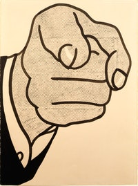 "Roy Lichtenstein, ""Finger Pointing"" (1961). Graphite pencil, pochoir, brush, and india ink, 76.2 x 57.2 cm. Private Collection, New York,  © Estate of Roy Lichtenstein."