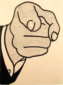 """Roy Lichtenstein, """"Finger Pointing"""" (1961). Graphite pencil, pochoir, brush, and india ink, 76.2 x 57.2 cm. Private Collection, New York,  © Estate of Roy Lichtenstein."""