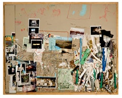 "Dieter Roth (1930 - 1998), ""5. Bürotisch-Matte, Bali-Mosfellssveit"" (1994-96). Collage of pencil, water colour, acrylic and oil paint, indian ink, marker, photos, scrap and drawing tools on grey cardboard mounted on plywood. 84.1 x 104.8 cm / 33 1/8 x 41 1/4 inches. ROTH 14690. Courtesy of the artist and Hauser & Wirth. © Hauser & Wirth. Photo Credit: Abby Robinson."