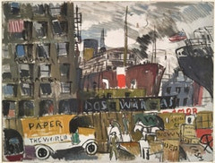 "Joaquin Torres-Garcia. ""New York Docks,"" 1928. Oil and gouache on cardboard. Yale University Art Gallery."