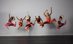 "Woza (L to R: Lindsay Renea, Khama Kgari, Nicolette Depass, Vitolio Jeune, Norwood ""PJ"" Pennewell, Kaori Otani). Photo: Greg Barrett."