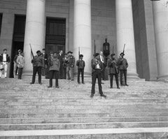 """The Black Panthers march on Washington State, 1969."" Image courtesy Washington State Digital Archives."