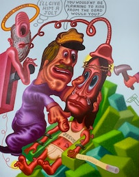 """Peter Saul, """"Jesus in Electric Chair,"""" 2004. Acrylic on canvas, 84 x 68 in. Harkey Family Collection, Dallas. Courtesy of Haunch of Venison New York."""