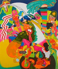 """Peter Saul, """"Vietnam,"""" 1966. Oil on canvas, 79.25 x 67 in. Collection of Sally and Peter Saul. Courtesy of Haunch of Venison New York."""