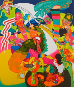 "Peter Saul, ""Vietnam,"" 1966. Oil on canvas, 79.25 x 67 in. Collection of Sally and Peter Saul. Courtesy of Haunch of Venison New York."