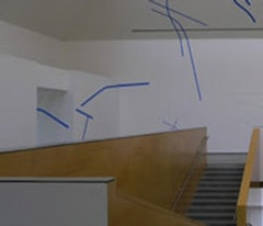 <i>Reconnaisance: Three Wall Drawings</i> blue adhesive tape, glue on wall.  2009
