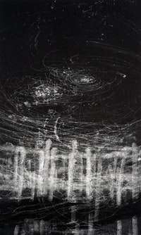 "Hilda Shen. ""Illumined II,"" (2010). Monotype, Ink on paper, 15"" x 25"". Courtesy of the Artist and SUGAR."