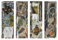 "David Rabinowitch. ""Birth of Romanticism Drawings: Quatrefoil Gradient Involution (Quartet for Carrie Lynn and Beethoven), Quartet L1-L4"" (2009). Oil pastel, gesso, oil paint, wax medium with pigment, pencil collage on Belgian Linen. 60 x 80 inches (152.4 x 203.2 cm). Courtesy Peter Blum Gallery, New York."
