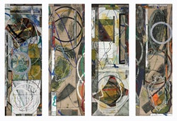 """David Rabinowitch. """"Birth of Romanticism Drawings: Quatrefoil Gradient Involution (Quartet for Carrie Lynn and Beethoven), Quartet L1-L4"""" (2009). Oil pastel, gesso, oil paint, wax medium with pigment, pencil collage on Belgian Linen. 60 x 80 inches (152.4 x 203.2 cm). Courtesy Peter Blum Gallery, New York."""