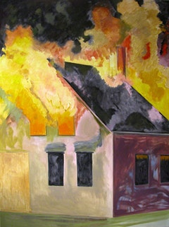 "Lois Dodd. ""Burning House, Night, Vertical"" (2007).  Oil on linen, 64"" x 48"". © Lois Dodd, Colby College Museum of Art, Gift of the Alex Katz Foundation, Courtesy Alexandre Gallery, New York."