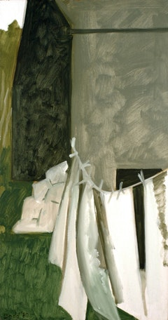 "Lois Dodd. ""White Laundry, Green Barn"" (1980). Oil on masonite. 18 3/4"" x 10"". Courtesy Alexandre Gallery, New York."