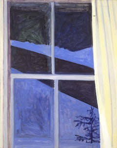 "Lois Dodd. ""Blue Night Window"" (1983).  Oil on masonite. 20"" x 16"". © Lois Dodd, Private Collection, Courtesy Alexandre Gallery, New York."