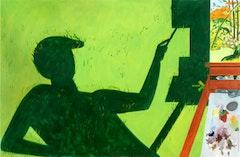 """Lois Dodd. """"Shadow of Painter Painting 'September Light'"""" (2009). Oil on linen, 32"""" x 50"""".  © Lois Dodd, Courtesy Alexandre Gallery, New York."""