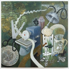 "Ellen Lanyon, ""Majolica Tea"" (2010). Acrylic on canvas . 36 x 36 inches. Courtesy Pavel Zoubok Gallery."