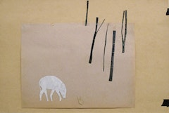 Tom Thayer, Paper Puppet and Scenery from The New World Pig, 2009-2010, paper, tape collage, graphite, 12 x 17.75 inches.
