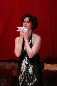 Carrie Ahern. Photo by Julie Lemberger. Photo taken during performance of Carrie Ahern Dance's SeNSATE at the Brooklyn Lyceum in Nov 2009.