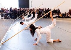 Dancers (front to back): Tamara Riewe, Nicholas Strafaccia, Dai Jian, Laurel Tentindo. © Yi-Chun Wu/The Museum of Modern Art.