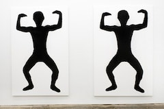"Joe Bradley. ""OOGA BOOGA,"" 2011. Silkscreen ink on canvas. Two canvases each: 96"" x 63"". Courtesy of CANADA."
