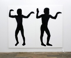"Joe Bradley. ""untitled,"" 2011. Silkscreen ink on canvas. Diptych total: 96 x 126 inches. Two canvases each: 96"" x 63""."