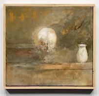 """""""SKULL AND VASE (SOURCE),"""" 2010. Oil on linen, 17 1/2"""