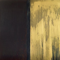 "Pat Steir, ""WINTER GROUP 3: RED, GREEN, BLUE AND GOLD"" (2009-11). Oil on canvas, 131 5/8 x 132 3/8 inches."