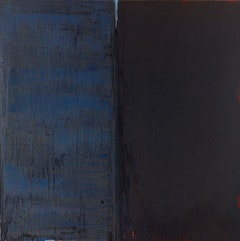 "Pat Steir, ""WINTER GROUP 14: RED, WHITE AND BLUE"" (2009-11). Oil on canvas, 84 x 84 inches."