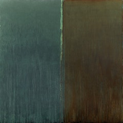 "Pat Steir, ""WINTER GROUP 6: GREEN, PAYNE'S GREY AND RED� (2009-11). Oil on canvas, 131 7/8 x 132 inches."