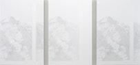 """Cameron Martin. """"Tisdor Sequence,"""" 2010. Acrylic on canvas over panel. 54 x 115.5"""" overall dims; 54 x 36"""" each panel."""