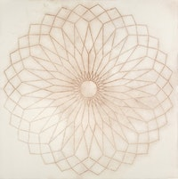 """Mary Judge, """"Oculus No.1"""" (2008). Dry pigment on paper.  30 x 30"""". Courtesy of the artist and Storefront."""