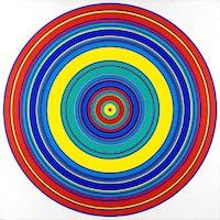 "Tadasky (b. 1935). ""C-145 (Multicolored)"" (1965). 47 x 47 inches.  Acrylic on canvas."