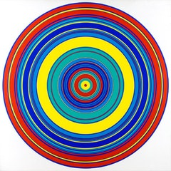 "Tadasky (b. 1935). ""C-145 (Multicolored)"" (1965). 47 x 47 inches.  Acrylic on canvas."