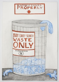Michael Patterson-Carver. The Price of Living in a 'Free' Country?, 2010. Ink, pencil and watercolor on paper. 20 x 14 1/4 inches.
