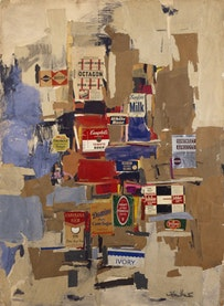 """Labels"" (1956). Colored paper, printed paper, ink, charcoal, gouache, and pastel on cardboard. 48 7/8 x 35 3/8 in. Museo de Arte Contemporáneo Esteban Vicente, Segovia."