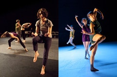 "Left (pictured front to back): Natalie Green, Stacy Grossfield, and Miriam Wolf in Natalie Green's ""nerves like tombs, nerves like nettles."" Right (pictured left to right): Maggie Thom, Ben Asriel, Madeline Best, and Anna Carapetyan in Juliana F. May/MAYDANCE's ""Gutter Gate."" Photos by Yi-Chun Wu, courtesy of Dance Theater Workshop."