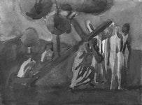 Chuck Bowdish, watercolor on paper, 2002