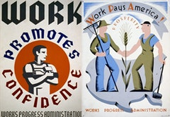 Poster for Works Progress Administration encouraging laborers, by the Federal Art Project (between 1936 and 1941). Courtesy Work Projects Association Poster Collection (Library of Congress).