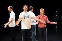 Karen Schupp rehearsing <i>Schreibstuck</i> with her performers. Photo credit Tim Trumble.