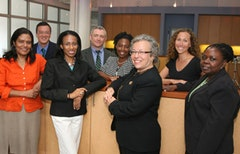 Photo of Marilyn Gelber and team, courtesy of Brooklyn Community Foundation.