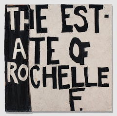 "Rochelle Feinstein, ""The Estate of Rochelle F.,"" 2009. Fabric, paper, drop cloth, stretcher. 60 x 60""."