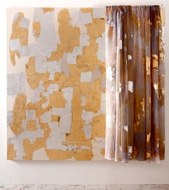"Rochelle Feinstein, ""Image of an Image,"" 2010. Gold and aluminum leaf, scrim, steel rod on canvas. 81 x 77 x 4""."